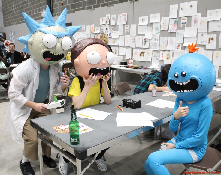MCM-Liverpool-Comic-Con-March-2017-UK-Cosplay-Rick-and-Morty-Mr-Meeseeks-Group